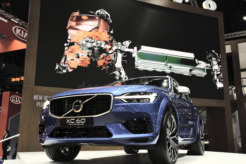 Nonthaburi TAJLANDIA, Marzec, - 30, 2018: Nowy Volvo XC60 przy 39th BANGKOK MIĘDZYNARODOWYM MOTOROWYM przedstawieniem 2018 obraz royalty free