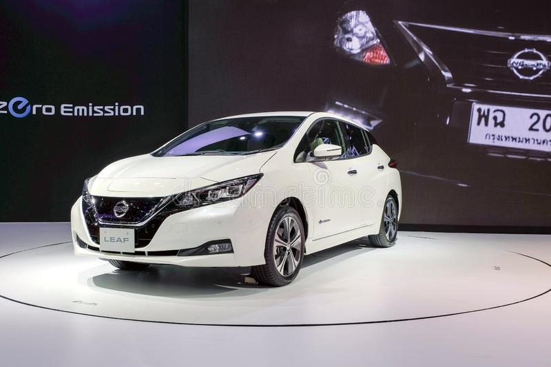 Nissan LEAF, zero-emission 100% electric car on display at The 34th Thailand International Motor Expo 2017 royalty free stock photography