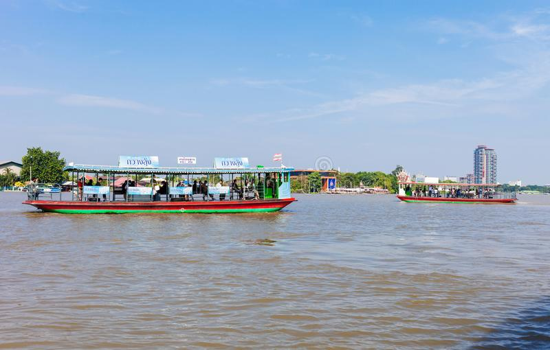 Trasport / Travel. Nonthaburi, Thailand - Nov 07,2017 : People use the boat service across the Chao Phraya River. To travel to work, travel to school and more stock photos