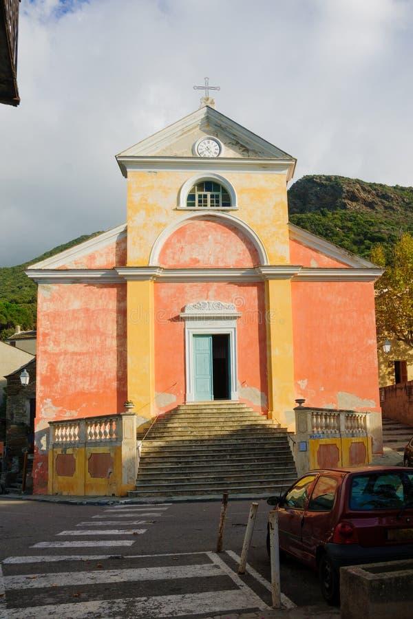 Nonza kyrka royaltyfri foto