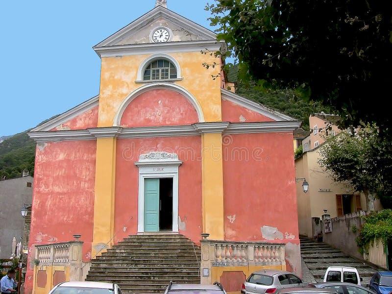 Nonza kyrka royaltyfria bilder