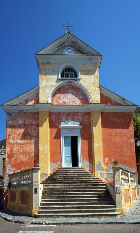 Nonza kyrka i den Korsika ön royaltyfria foton
