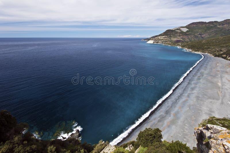 Nonza strand i den Cap Corse halvön royaltyfri foto