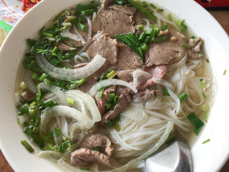 Noodle with beef (called Pho) in Hanoi, Vietnam royalty free stock photos