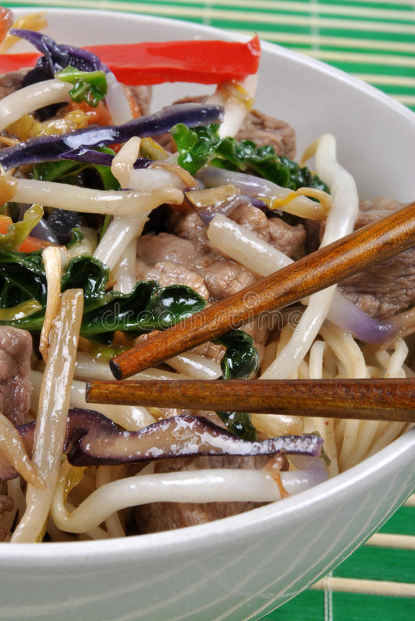 Noodle with beef and stir fry. Oriental noodle with beef and stir fry royalty free stock photo