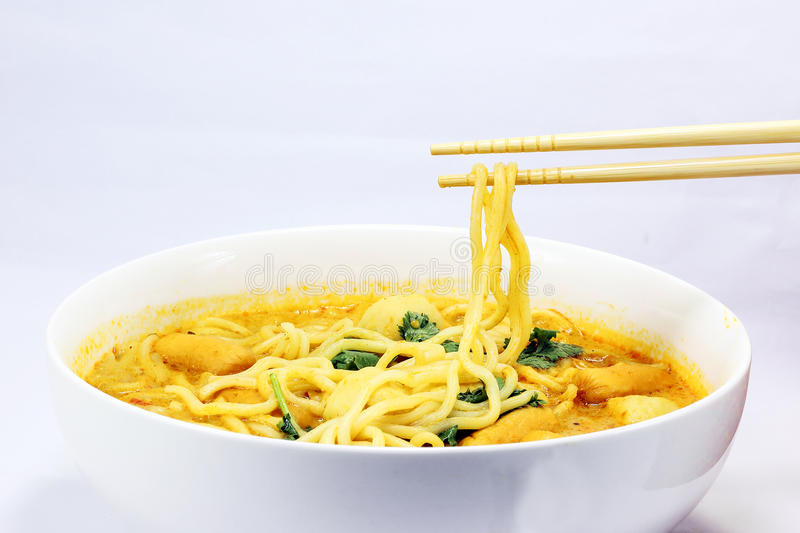 Noodle curry laksa. In bowl on white background stock photo