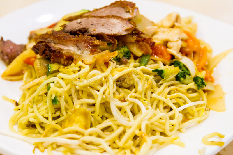 Noodle Dish with Pork and Mixed Vegetables. Close Up Still Life of Noodle Dish with Pork and Mixed Vegetables Served on White Plate - Chow Mein or Spaghetti stock photo