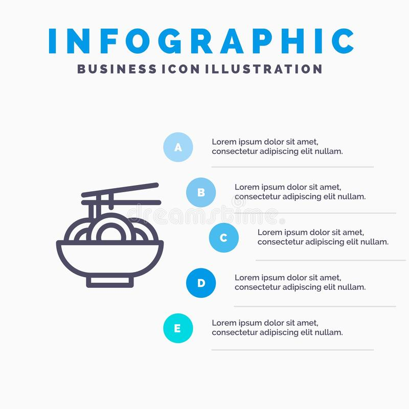 Free Noodle, Food, China, Chinese Blue Infographics Template 5 Steps. Vector Line Icon Template Stock Photos - 148709663