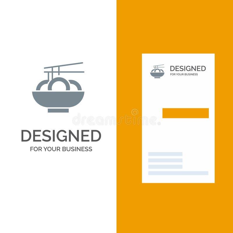 Noodle, Food, China, Chinese Grey Logo Design and Business Card Template (Шаблон серого логотипа китайского производства) иллюстрация штока