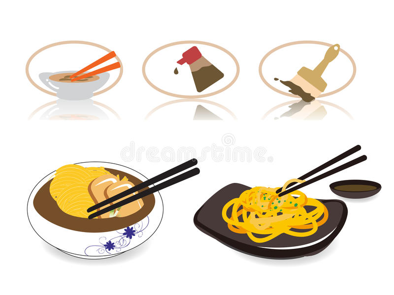 Download Noodle Icon Set stock vector. Image of china, diet, chopstick - 12128556