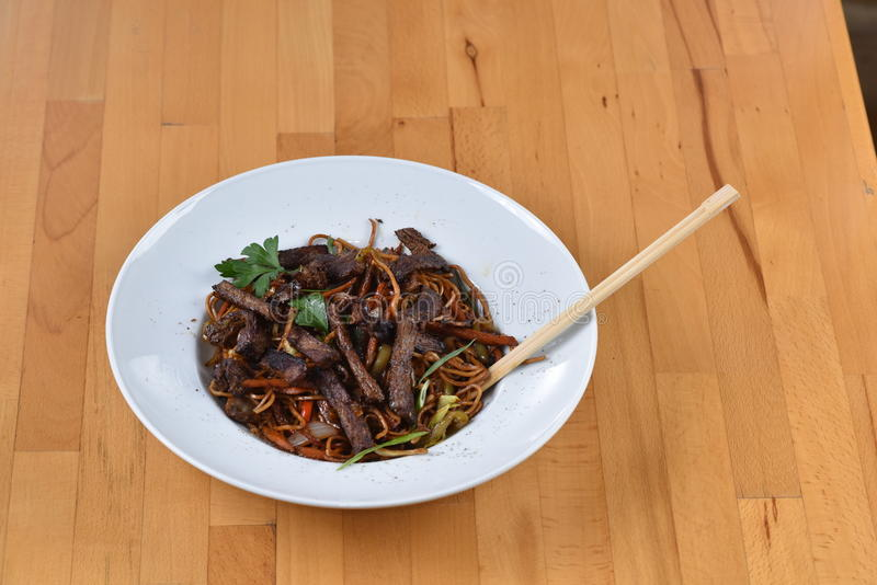 Noodle Pasta with meat. Chinese style royalty free stock photography