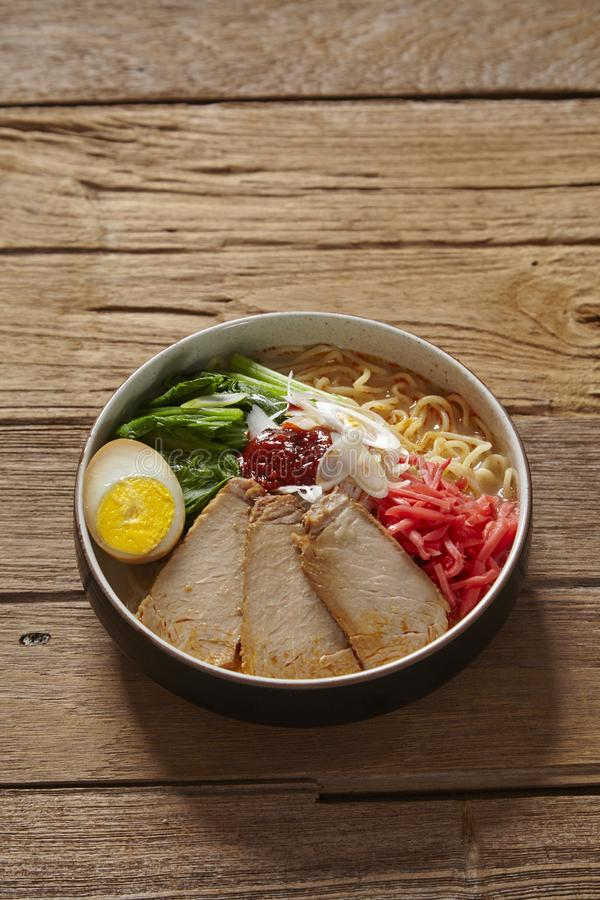 Noodle ramen in a bowl stock photos