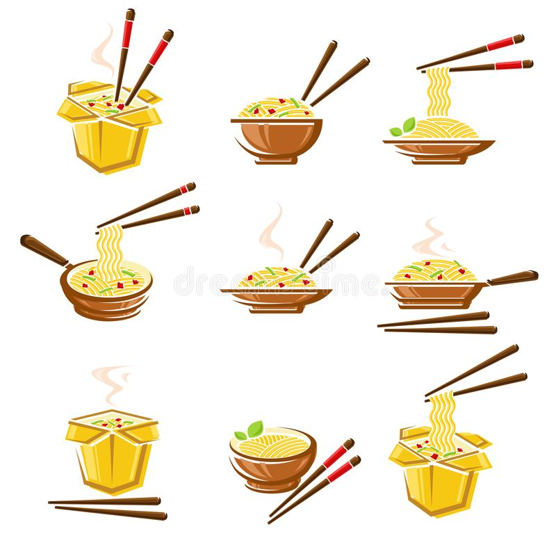 Noodle set. Collection icon noodles. Vector. Illustration royalty free illustration