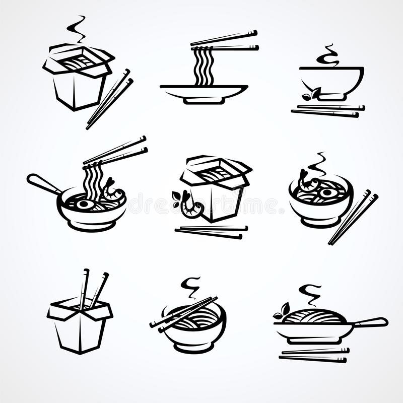 Noodle set. Collection icon noodles. Vector royalty free stock image