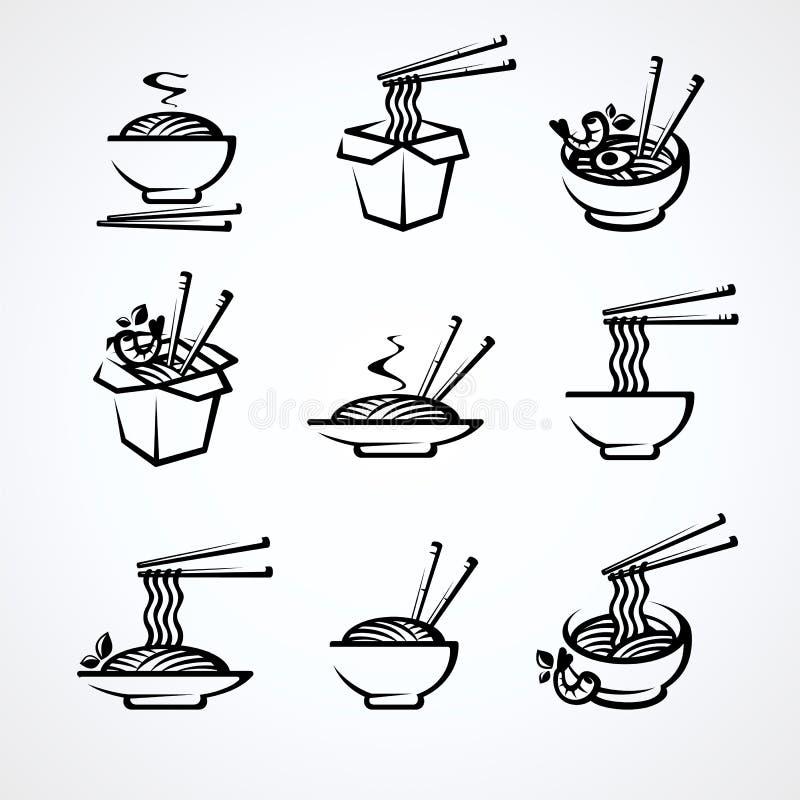 Noodle set. Collection icon noodles. Vector stock photo