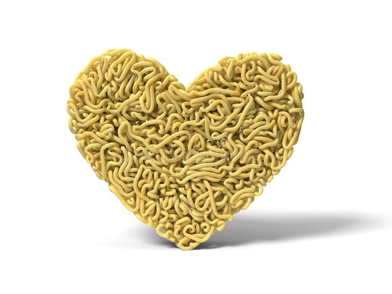 Noodle in shape of heart symbol. curly spaghetti for cooking. 3d illustration stock illustration