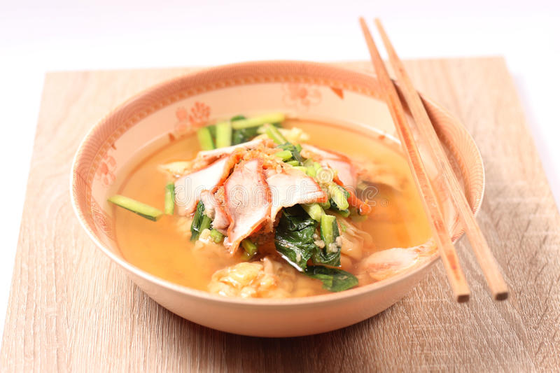 Noodle soup and dumpling royalty free stock images