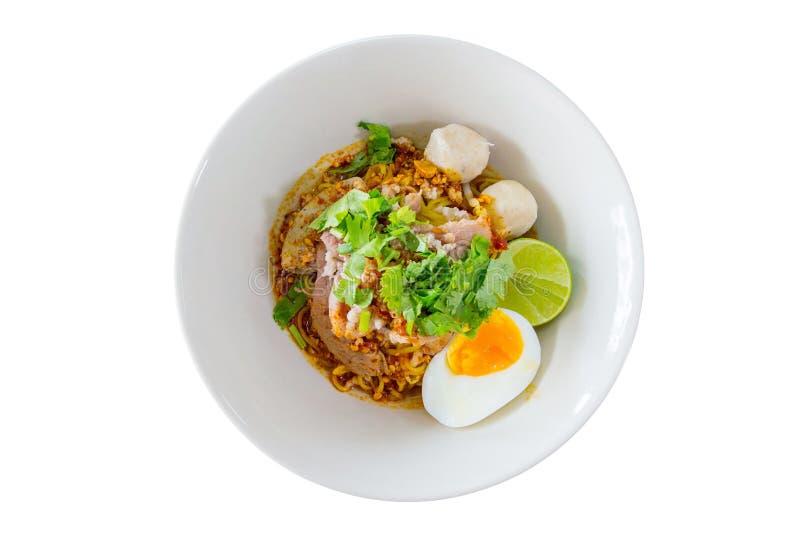 Noodle soup egg coriander meat ball lime lemon nut Pig liver filling stock photos