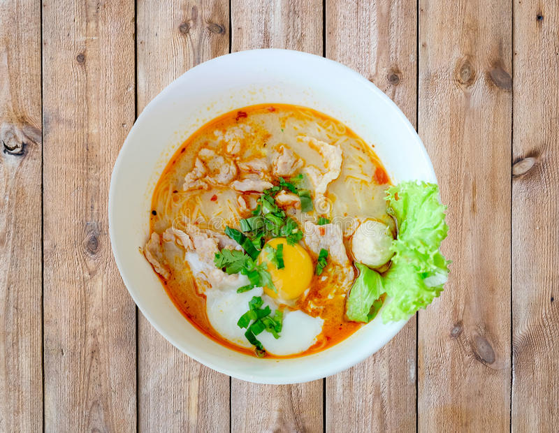 Noodle soup hot spicy pork egg vegetable royalty free stock photos