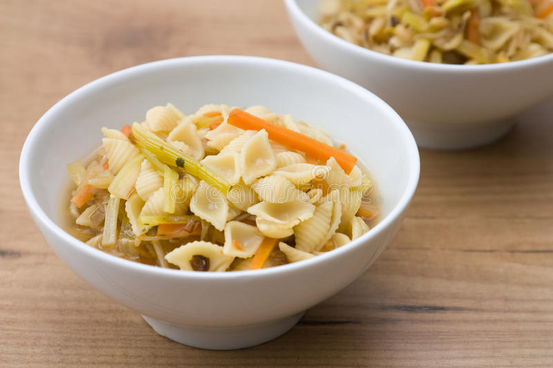 Noodle Soup with Vegetables. Soup with noodles and vegetables like carrots, field garlic, sprouts and noodles royalty free stock photography