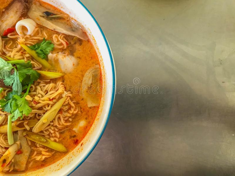 Noodle spicy seafood soup royalty free stock photo