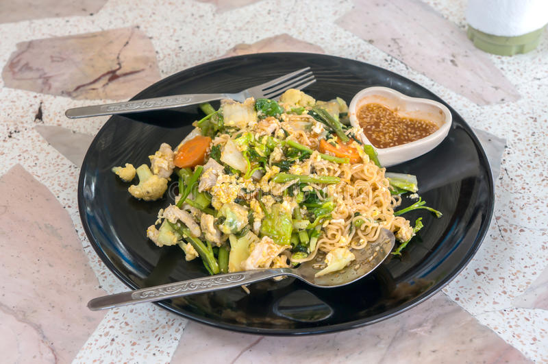 Noodle stir fry with vegetable , Sookie. Noodle stir fry with vegetable ,Thai name is Sookie stock photo