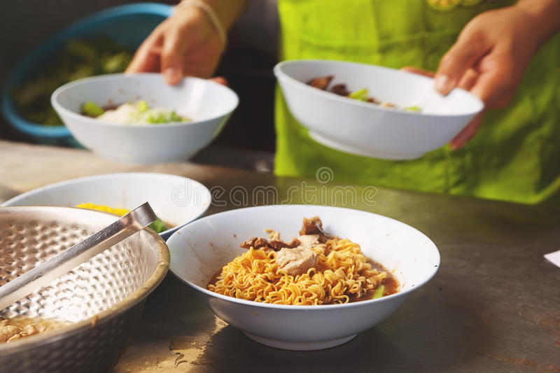 Noodle,Thai food. Prepare boiled soup in noodle,Thai food stock images