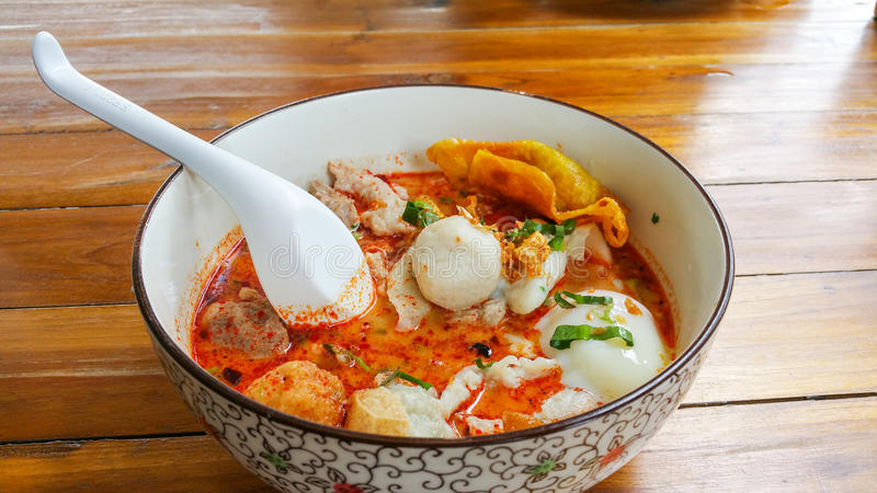 Noodle Tom yum seafood put egg. royalty free stock photo