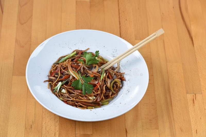 Noodle Vegetable Pasta. Served in Chinese Style stock image