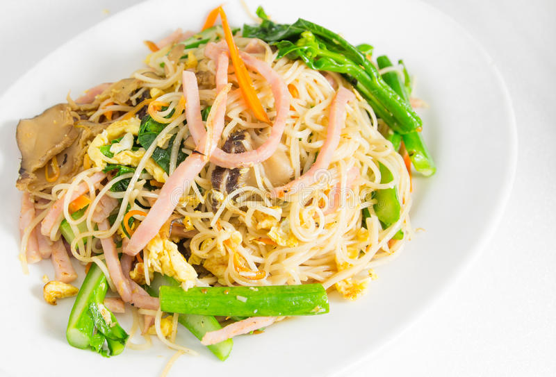 Noodle with vegetable. Stir fried noodles Chinese food ,it call Noodle Chow stock image