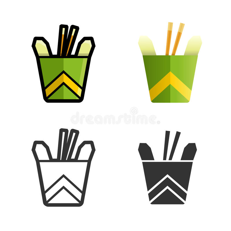 Noodles in a box vector colored icon set. Noodles in a box vector cartoon, colored, contour and silhouette styles icon set. Tasty wok fried fast food unhealthy royalty free illustration