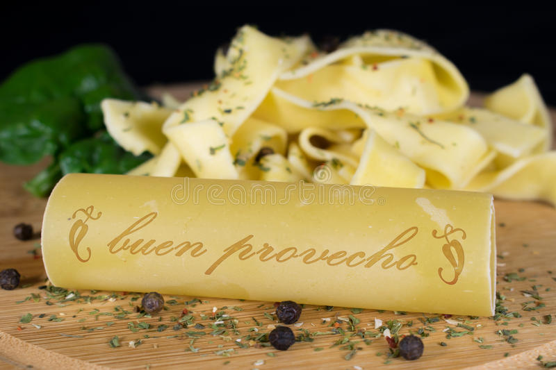Noodles / cannelloni with lettering stock photos