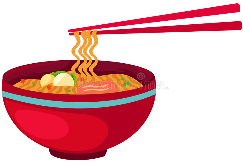 Noodles food with chopsticks vector illustration
