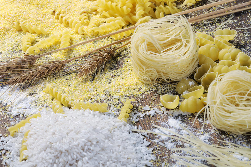 Noodles, pasta and rice royalty free stock image
