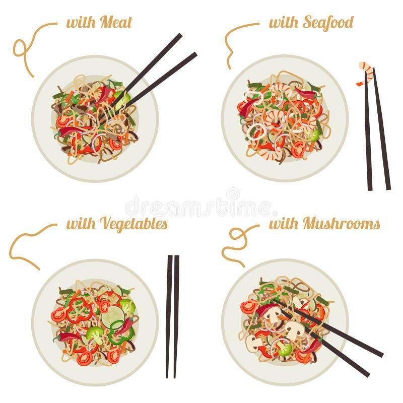 Noodles on plate. vector illustration