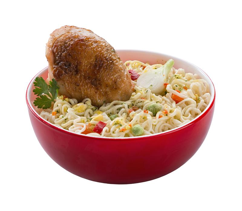 The noodles in the red bowl royalty free stock images