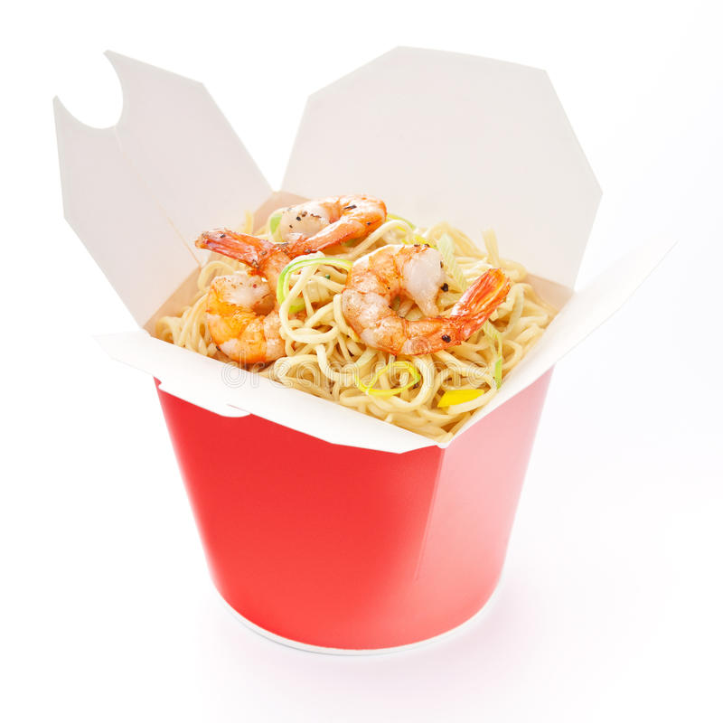 Noodles with shrimp in take-out box royalty free stock images