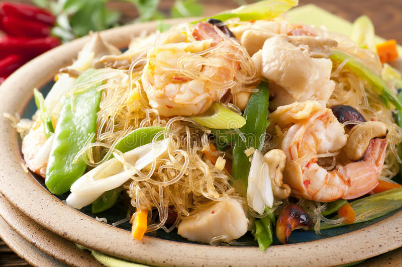 Noodles with shrimps. Glass noodles with shrimps and vegetable stock photography