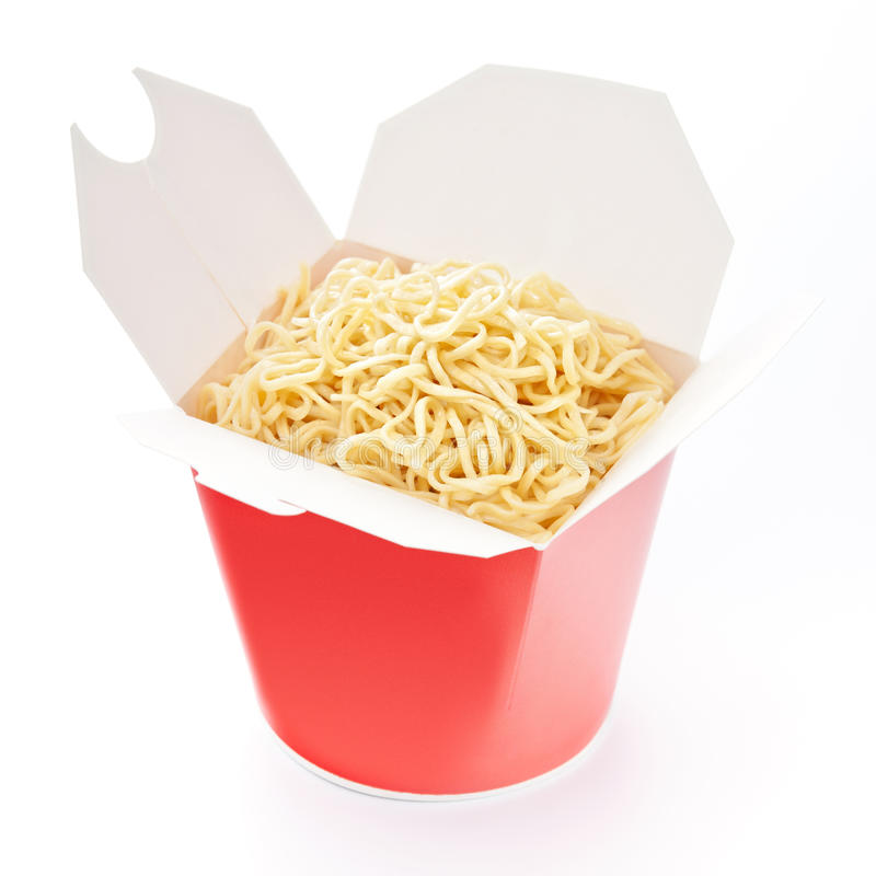 Noodles in take-out box stock photography