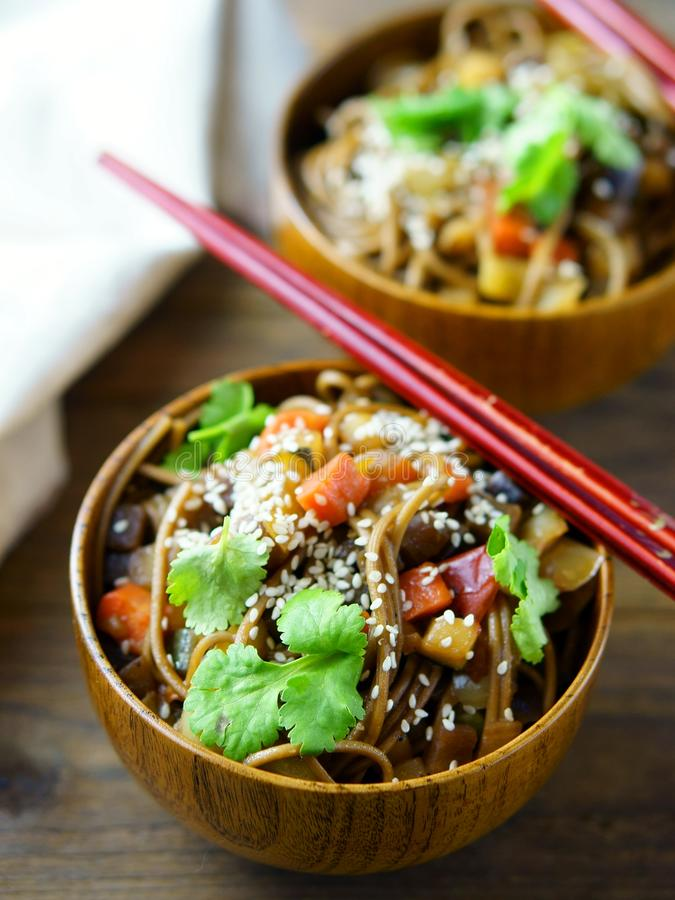 Noodles with vegetables stock image