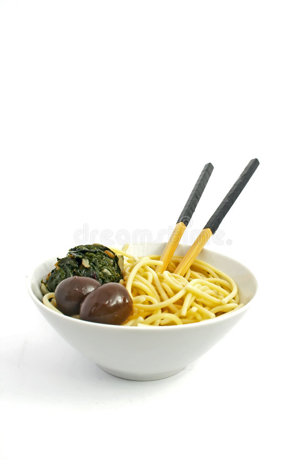 Noodles on white background royalty free stock photo