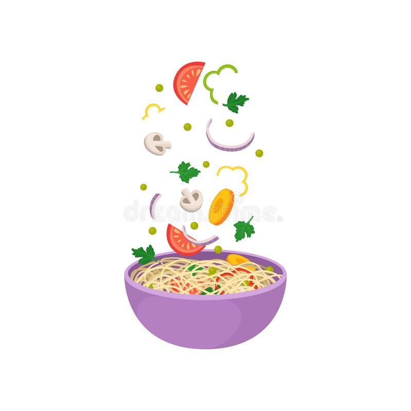 Free Noodles With Vegetables In Purple Bowl On White Background. Stock Photos - 143789963