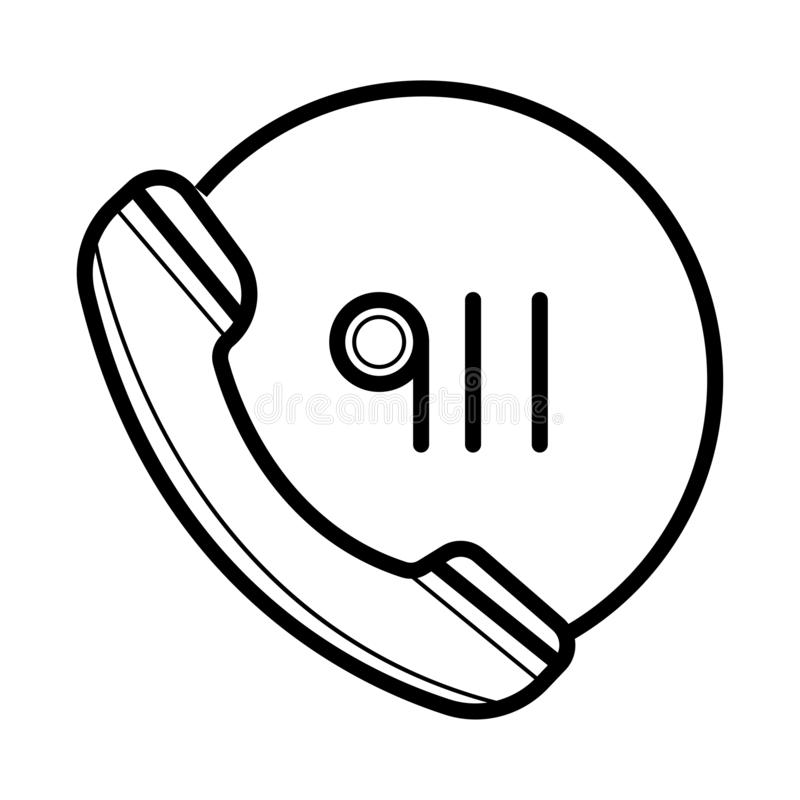 Noodsituatie die de dienstpictogram roepen vector, gevuld vlak teken, stevig die pictogram op wit wordt geïsoleerd Zaktelefoon en stock illustratie