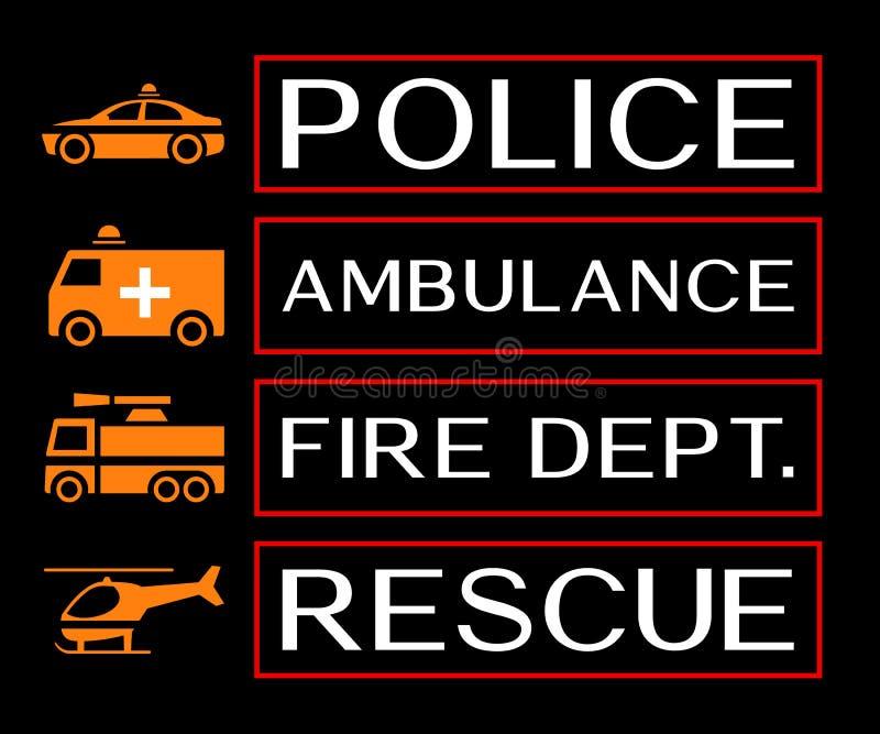 Noodsituatiebanners met ziekenwagen, brand afd., redding en politie i royalty-vrije illustratie