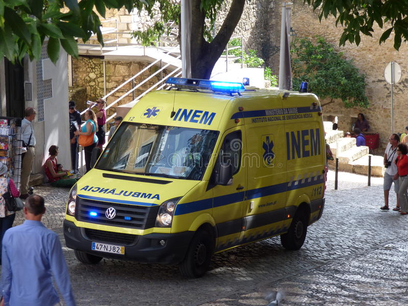 Noodsituatieziekenwagen Portugal royalty-vrije stock afbeeldingen