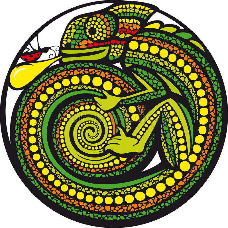 Nooit op geef! Lieveheersbeestje VERSUS Kameleon. vector illustratie