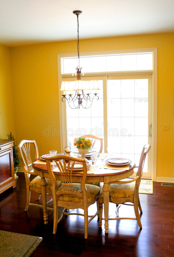 Nook Area. Breakfast table in bright colored house nook area royalty free stock photo