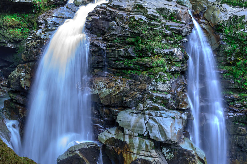 Nooksack Falls in the northern Cascade mountains royalty free stock photo
