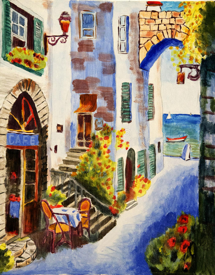 Noon. Acryl color Painting. This picture is made by me in the Mediterranean city royalty free stock photography