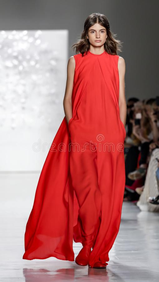 Noon by Noor SS 2018. New York, NY, USA - September 7, 2017: A model walks runway for the Noon by Noor Spring/Summer 2018 runway show during New York Fashion royalty free stock image